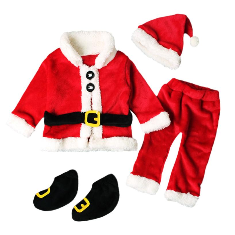 newborn boys girls Christmas Santa Claus infant New Year clothes 4PCS Santa Christmas Tops Pants Hat Socks Outfit Set Costume-eosegal