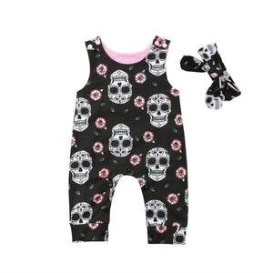 2018 Halloween Newborn Skull Floral Baby Boys Girls Romper Sleeveless Jumpsuit Headband Outfits Summer Holiday Clothes-eosegal