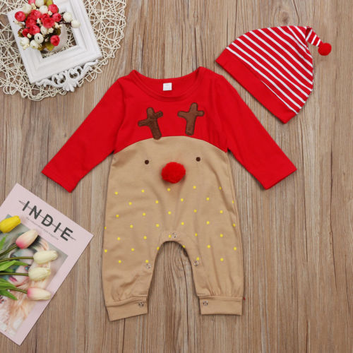 Christmas Baby Girls Clothing Baby Boy Girl Long Sleeve Fall Romper Patchwork Jumpsuit +Hat 2Pcs Xmas Clothes Outfits-eosegal