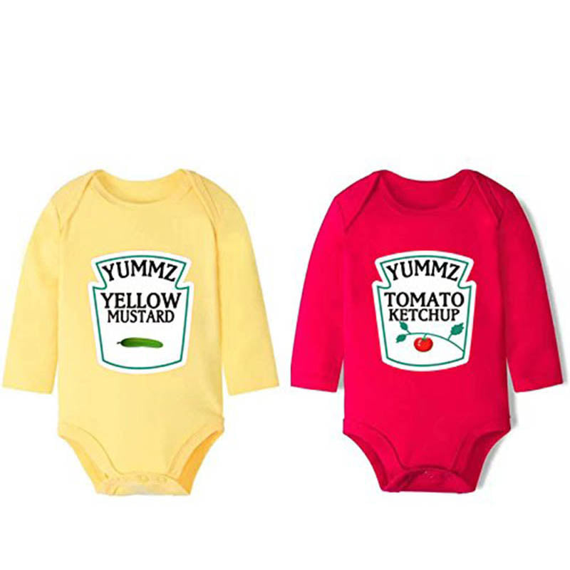 YSCULBUTOL Cotton Long Sleeve Ketchup and Mustard Set Bodysuits Twins Outfit One Piece Cute Funny Clothing-eosegal