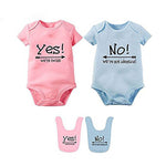 YSCULBUTOL Baby Bodysuits For Twin Boys Girls Twin Clothes Unisex Short Sleeve Yes We Are Twins No We Are Identical-eosegal