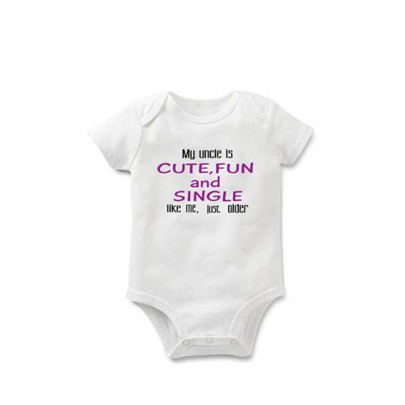 YSCULBUTOL Baby cotton bodysuit my uncle is cute fun and single 2 color infant baby 0-12M baby Clothing-eosegal