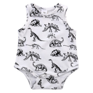 Newborn Infant Kids Baby Boy Girl Dinosaur Print Jumpsuit Bodysuit Outfits Clothes Dinosaur Print Sleeveless Baby Bodysuits-eosegal