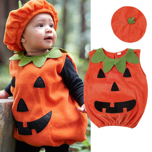 0-3Y Newly Cosplay Halloween Toddler Baby Kid Pumpkin Print Sleeveless Romper Jumpsuits Tops+Hats Baby Clothes 2PCS Costumes-eosegal