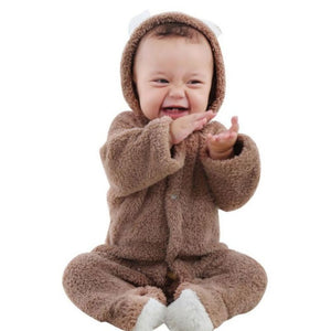 Baby Rompers Winter Warm Longsleeve Coral Fleece Newborn Baby Boy Girl Clothes Infant Jumpsuit Animal Overall Pajamas-eosegal