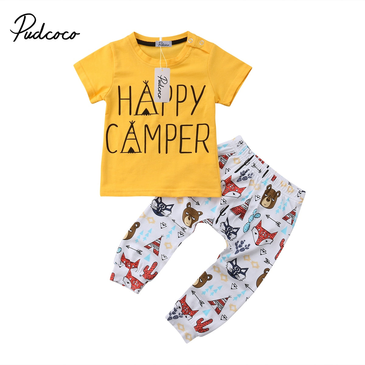 2018 Brand New Animals Newborn Toddler Infant Baby Boys Girl Tops T shirt Pants Outfit 2Pcs Set Happy Camper Summer Clothes-eosegal