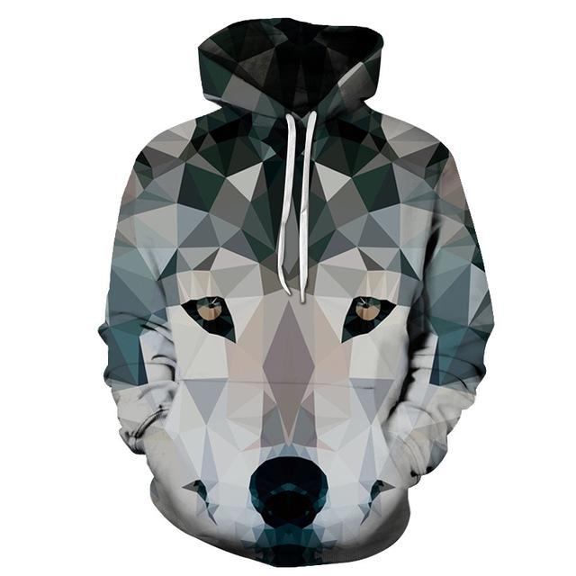 Wolf Printed Sweathsirts Men Hoodies Galaxy Hoody Hot Sale Tracksuits Anime Coateosegal-eosegal