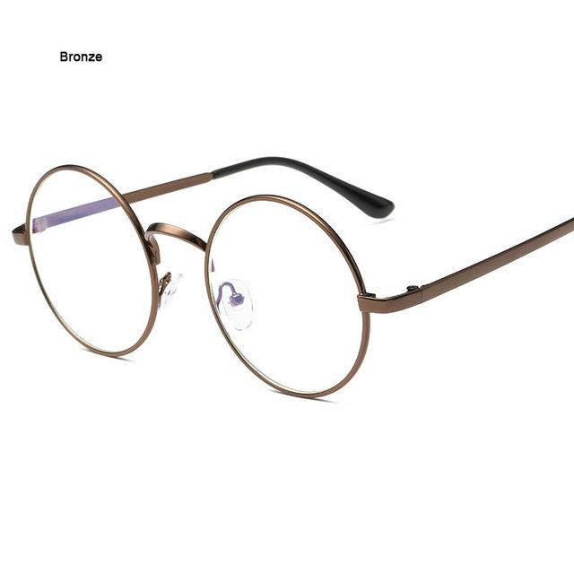 Round Glasses Transparent for Computer Lenses Metal Frame Eyeglasses Women Men Antieosegal-eosegal