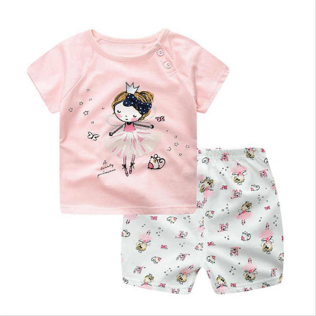 BibliCal Children Suits summer Baby boys girls Clothing Set Cartoon Printing Sweatshirts+Casual Shorts 2Pcs Baby fashion Clothes-eosegal