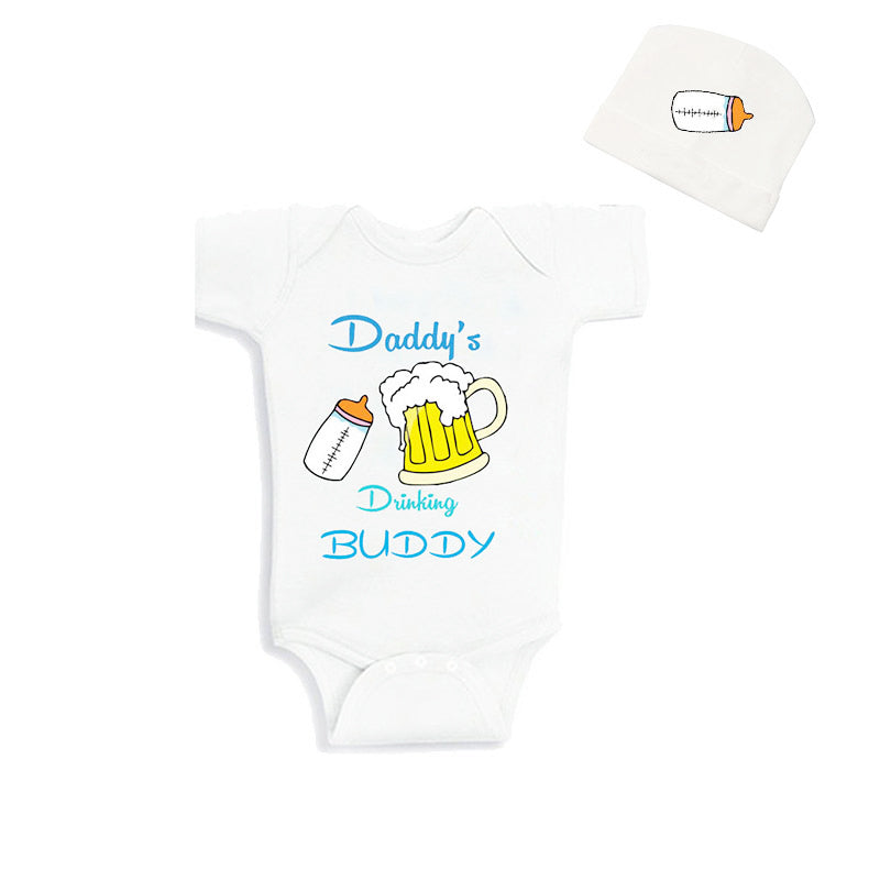 Cublutomind Father's Day Daddys Drinking Buddy Funny Baby Body Suit Clothes Baby Shower Gift for NB-12m Babies Summer Jumpsuit-eosegal