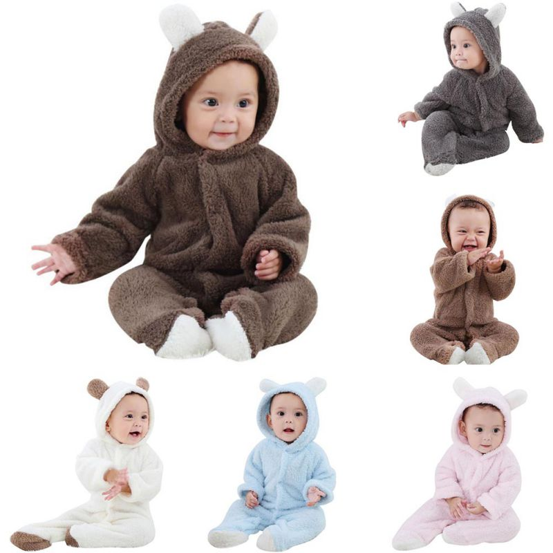 Baby Rompers Newborn Baby Girl Clothes Set Cute 3D Bear Ear Jumpsuit Baby Boy Clothes Set Autumn Winter Warm Baby Clothing Sets-eosegal
