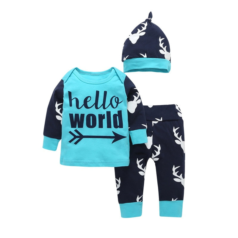 Hello World Newborn Baby boy Clothing Set Letter printed T-shirt+Pants+Hats 3pcs Fashion Toddle Boys Girls clothes outfit 0-24M-eosegal