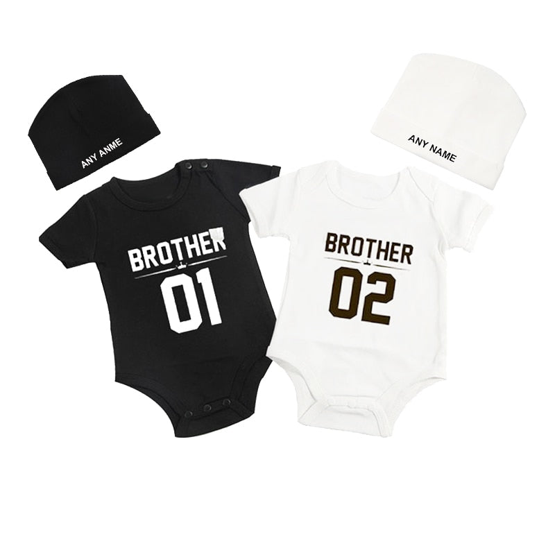 Culbutomind Brother 01 02 Print Twins Matching Set Newborn Clothes Cute Rompers Short Sleeve Cotton Jumpsuit with Custom Beanie-eosegal