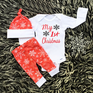 3Pcs Newborn Infant Baby Girls Boys Clothes Long Sleeve White My First Christmas Bodysuit Tops+Red Pants+Cap Toddler Outfit Set-eosegal