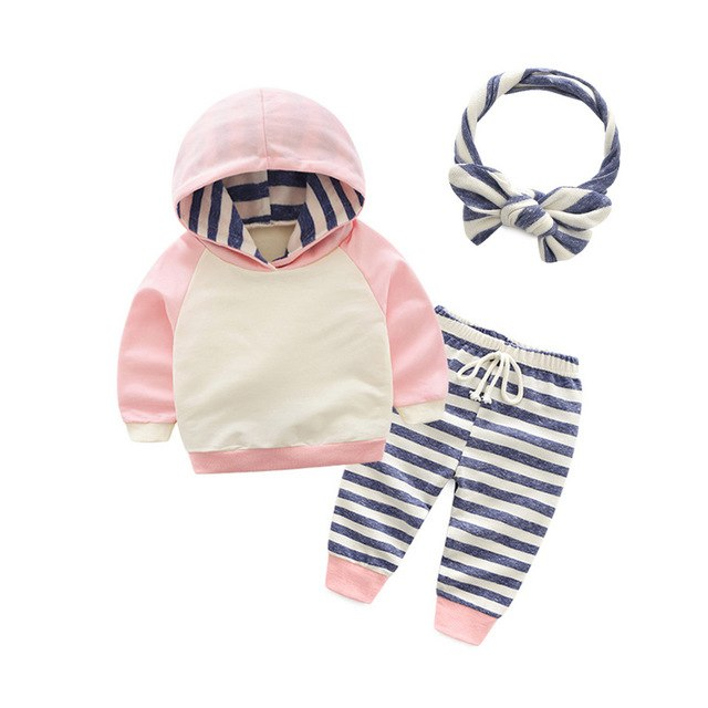 Tem Doger Baby Boy Clothing Sets Autumn Infant Girl Clothes Cotton Long Sleeve Pullover Hooded+Pants+Hat 3PCS Newborn Outfits-eosegal