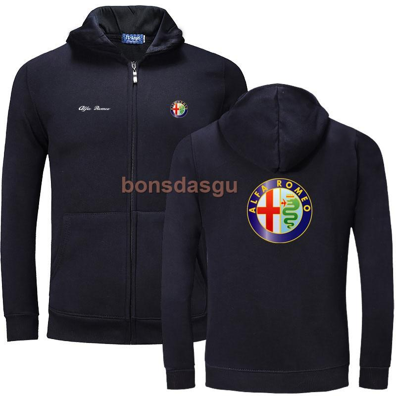 Alfa Romeo logo Print zipper Hoodies Men Casual Long Sleeve Mens zippereosegal-eosegal