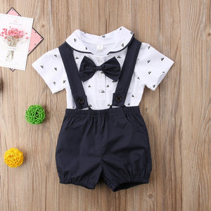 2018 Brand New Gentalman Newborn Kid Baby Boy Outfit Clothes Jumpsuit Bodysuit+Pants Overall 2Pcs Set Children Summer Clothing-eosegal