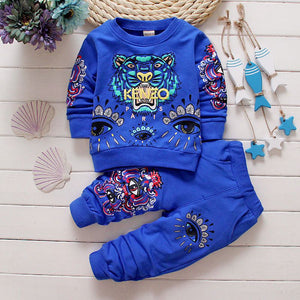 New baby boys girls clothes sets spring autumn casual kids suits infant boy children bebes clothing set 2pcs tops coat+pants-eosegal