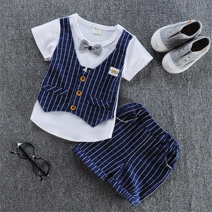 BibiCola baby boys summer clothing sets baby boys clothes Bow tops + shorts 2 pc suit infant boys gentleman outfits-eosegal