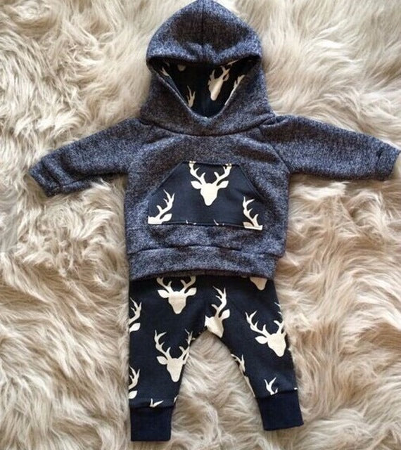 Retail 2016 New Autumn and winter color cotton High quality long sleeve hooded fleece baby boy set The deer Santa suit-eosegal