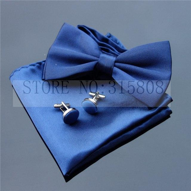 Classic Black Satin Bowtie Sets Hanky Mens Solid Pattern Pajaritas Cufflinkseosegal-eosegal