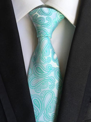 Luxury Formal Tie 8cm Classic Paisley Necktie with Embroidery Flower Patterneosegal-eosegal