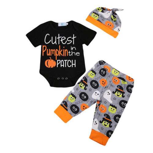 Halloween 3Pcs Clothes Newborn baby Boy Girl Cutest Pumpkin in the Patch Letter Romper+Pants+Hats Caps Pumpkin Festival Set-eosegal