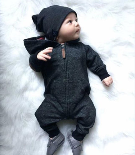 Baby Unisex Long Sleeve Kids Baby Boy Warm Infant Jumpsuit Bodysuit Hooded Clothes Sweater Outfit-eosegal