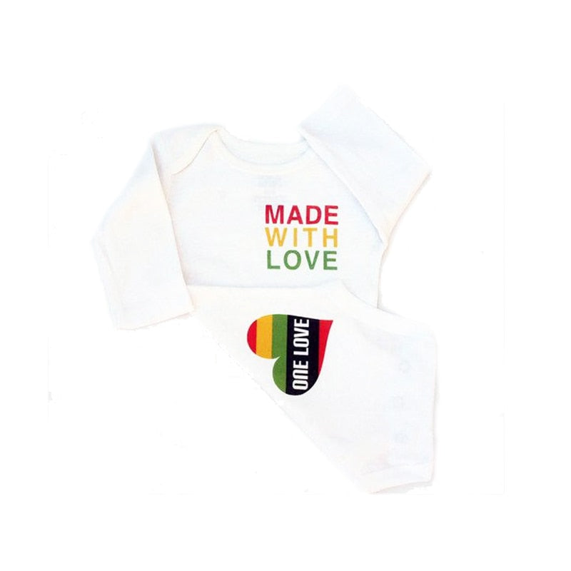YSCULBUTOL Made with Love Reggae Baby Clothes Rasta Baby Bodysuit Red Yellow Green 0-12M infant baby-eosegal