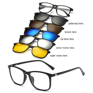 Spectacle Frame Men Women With 5 Piece Clip On Polarized Sunglasseseosegal-eosegal