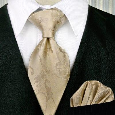 Wholesale Solid Checked Floral Light Yellow Champagne Gold Men's Ties Set Necktieseosegal-eosegal
