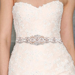 34cm DIY Crystal Applique Waistband, Women Belt Party Dress Sash Sewing Beaded Sparkle,Ribbon Waist Strap Rhinestone Accessories-eosegal
