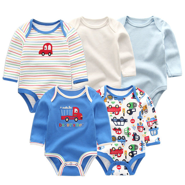 5 PCS/lot winter long sleeve newborn baby bodysuit cotton baby jumpsuit ropa bebe white baby boy girl clothes-eosegal