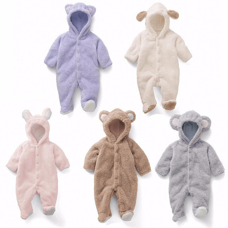 Newborn Baby Romper Coveralls Coral Velvet Long Sleeve Winter Warm Baby Clothes Baby Girl Clothes Animal Overalls Baby Jumpsuit-eosegal