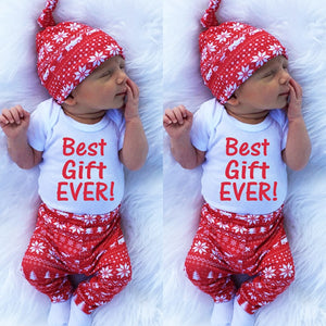 3pcs set 2018 autumn baby clothes set Christmas Kid baby boys girls Cotton Tops Romper Leggings Pants Outfits Set Clothing-eosegal