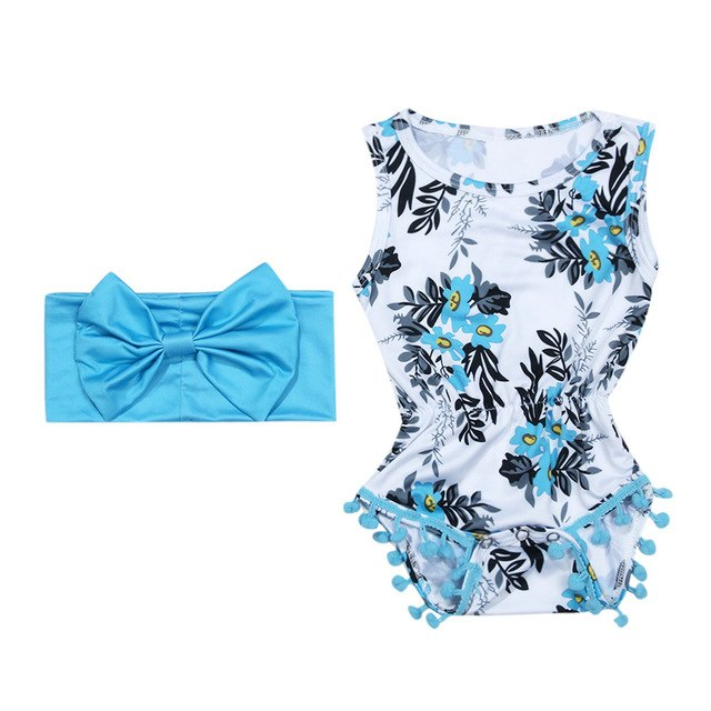 2018 Fashion Sunsuit+Headband Cotton Outfits Set Clothes 0-2y Girl Floral Baby Romper Set Infant Baby Girls Summer Flower Romper-eosegal