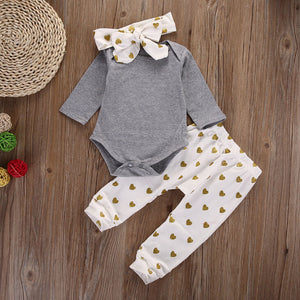 3Pcs set Infant girls clothes Long sleeve Toddle Tops bodysuit +pants+headband Baby girl clothing set bebe kids outfit-eosegal