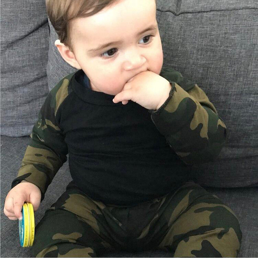 MUQGEW New born baby girl clothes set Camouflage T-shirt Tops+Pants Outfits 2pcs Set winter baby clothing conjunto infantil-eosegal