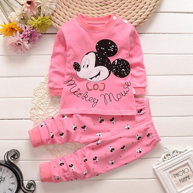 Baby Boys Clothes 2018 Spring Autumn Cartoon Leisure Long Sleeved T-shirts + Pants Newborn Baby Girl Clothes Suits-eosegal