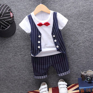 1 year birthday gentleman newborn baby boy clothes formal striped short sleeve suit summer baby boy wear clothing outerwear sets-eosegal