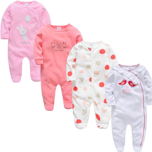 2018 3 4 pcs/lot Summer Baby Boy roupa de bebe Newborn Jumpsuit Long Sleeve Cotton Pajamas 0-12 Months Rompers Baby Clothes-eosegal