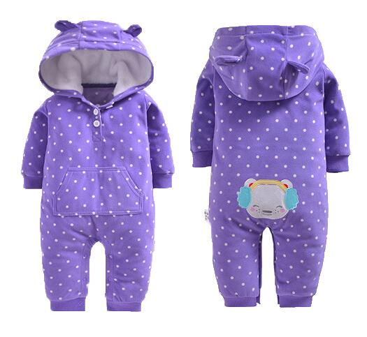 2018 winter bebes clothes girls romper infants pajamas fleece baby jumpsuit hooded baby fox clothing toddler boys warm clothes-eosegal