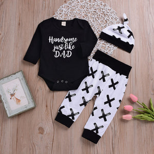 MUQGEW Newborn baby clothing set Infant Baby Boy Clothes Letter Romper Tops+ Pants Hat 3PCS Outfits Set ropa recien nacido-eosegal