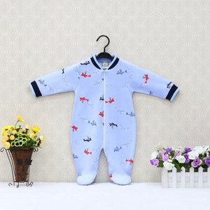 Baby Pure Cotton Long Sleeve Rompers Zipper O Neck Toddler Suits Boys and Girls Clothes 2018 Little Q Clothing-eosegal