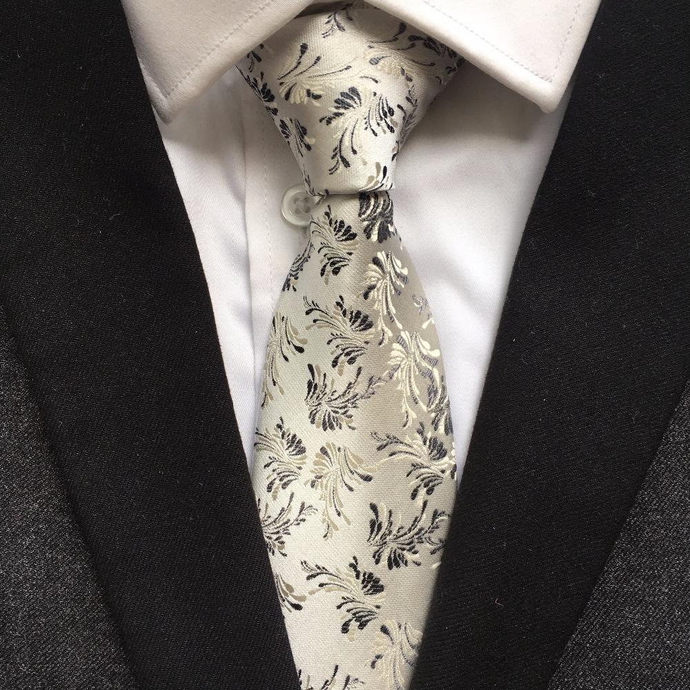 Unique Luxury Formal Tie 8cm Classic Silver Paisley Necktie with Embroidery Flowereosegal-eosegal