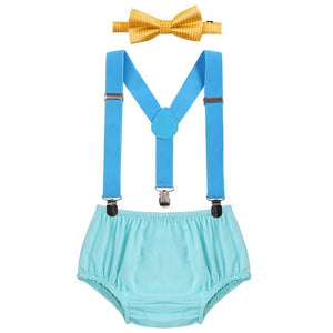 3pcs/Set Lovely Baby Boy Clothes Set 1st Birthday Cake Smash Outfits Boys Bloomer Pants Photo Prop Costume Suspenders+Pants+Bow-eosegal