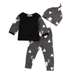 Newborn Infant Baby Girl Boy Deer Tops Long Sleeve Grey T-shirt+Print Leggings Pants Outfit Set 3Pcs Cute Baby Clothes-eosegal