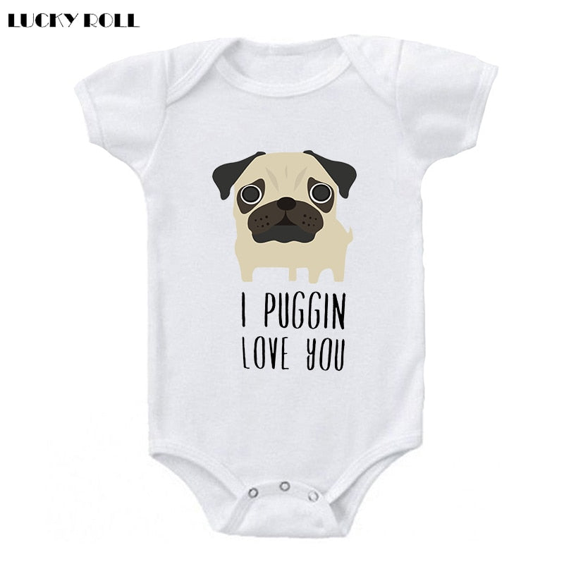 LUCKY ROLL I Puggin Love You Funny Pug Dog Baby Bodysuit Round Neck Leisure Kids White Short Sleeve Jumpsuits Boys Girls Onesies-eosegal