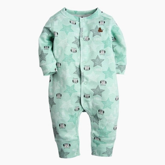 2018 New Fashion Newborn Baby Ropmer Cartoon Car Long Sleeve Baby Boy Girl Clothes 100% Cotton Sleepwear Baby Rompers Free ship-eosegal