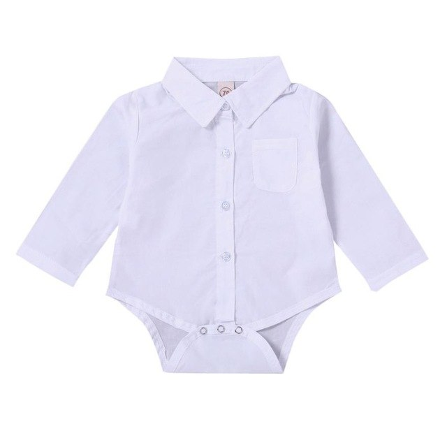 High quality Solid White Toddler Newborn Baby Boys Girls Long Sleeve Shirt Rompers Jumpsuit Outfits Clothes Cute Casual 3M-18M-eosegal